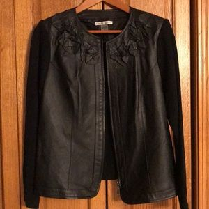 Peter Nygard leather and knit jacket
